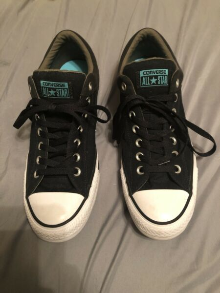 Mens Low Top Converse All Star Black Canvas Size 9 NEw Without Box NWOB