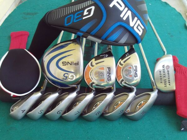 Ping G-10 Irons Driver Wood Hybrid Odyssey Putter Mens Complete Golf Club Set LH