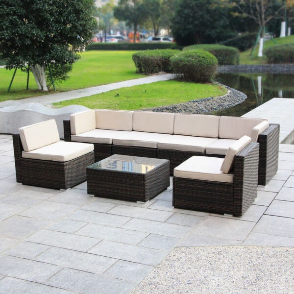 MAGIC UNION Patio Rattan Wicker Outdoor Furniture Sectional 7 Piece Sofa Set $699.99