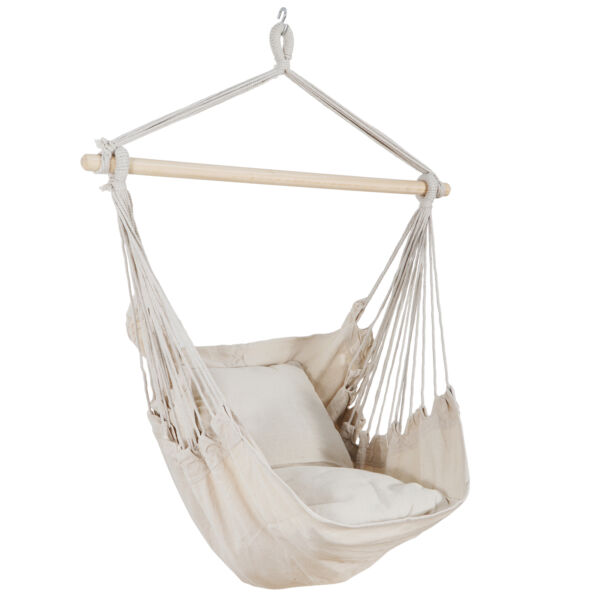 Beige Air Hammock Swing Chair Patio Tree Hanging Sky Outdoor Porch Lounge $27.99