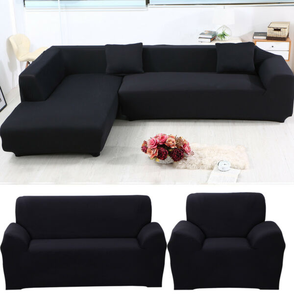 US 1 2 3 4 Seater L Shape Universal Stretch Sofa Covers Couch Cover Slipcover $17.60