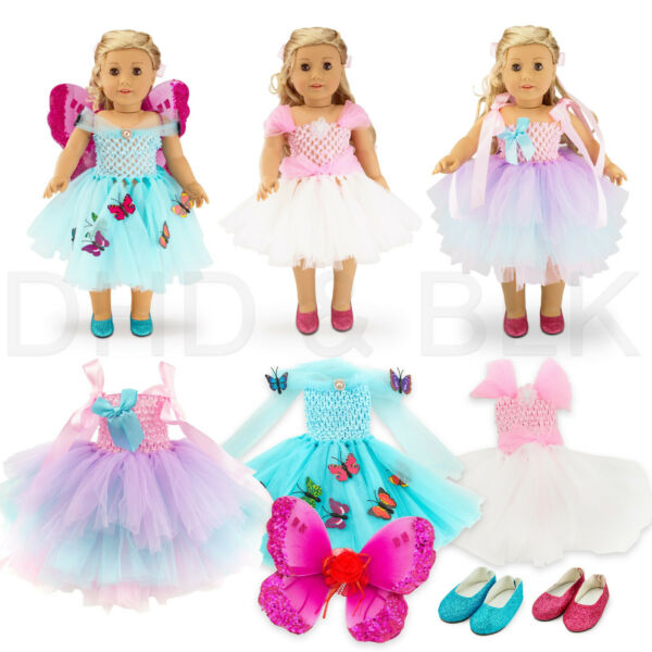 "For American Girl 18"" inch Dolls Clothes Outfit Fairy Princess Dress Butterfly"