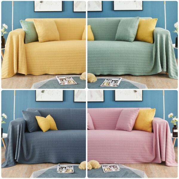 Knitted Sofa Cover Slipcover Sofa Blanket Couch Cover All Inclusive Protector $15.98