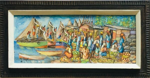 SIGNED LISTED HAITIAN ARTIST M MICHEL OIL ON CANVAS ART WORK INTERNATIONAL SALE