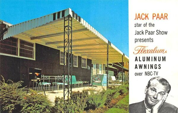 Jack Paar Advertising Flexalum Aluminum Awnings Sent by Publisher Postcard