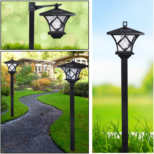 Solar Power Light Lamp Post Lantern Yard Stake Outdoor Garden Lighting 5quot; 2 in 1