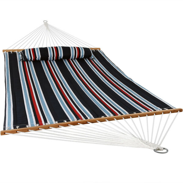 Sunnydaze 2 Person Quilted Spreader Bar Hammock Bed and Pillow Nautical Stripe $70.95