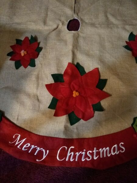 46 Inch Merry Christmas Tree Skirt Red Poinsettia Burlap Tree Skirt Good