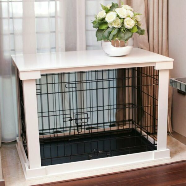 Indoor Kennel Dog Furniture Crate End Table With Wooden Cage Cover Small White $261.80