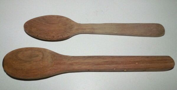 2 Vintage Wooden Spoons One Handmade One from a St. Cyril Bakery