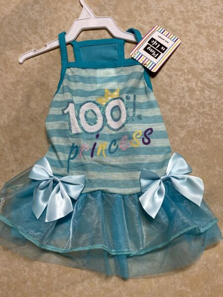 PLAY IS LIFE Aqua quot;100% PRINCESSquot; Summer Dress Puppy Dog MEDIUM $16.50