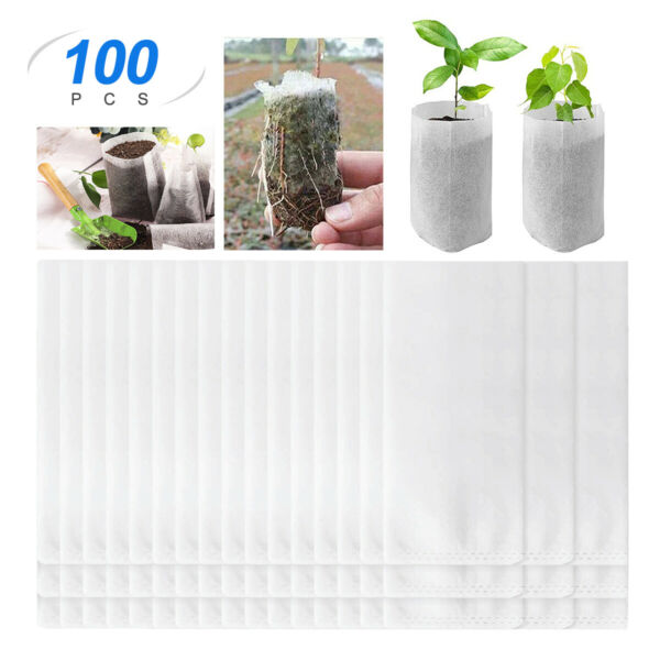 100 Pack Biodegradable Non woven Nursery Bags Plant Grow Seedling Planting Pots $7.59