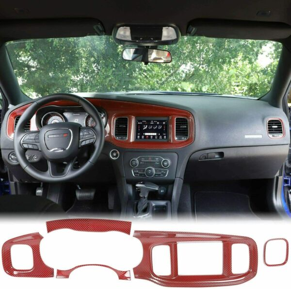 Red Carbon Fiber Central Control Dashboard Panel Cover for Dodge Charger 2015 $99.99