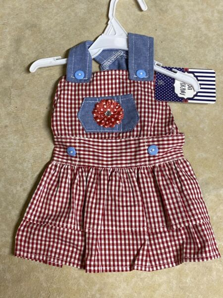 AMERICAN DOG Red Check and Denim Dress Puppy Dog SMALL $16.50
