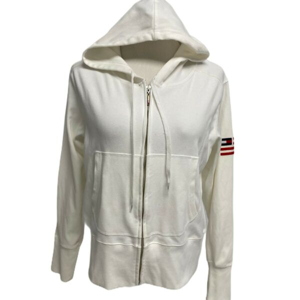 Vintage Tommy Hilfiger Jeans White Tommy Zip Up Hoodie100% Cotton Jacket Size XL $33.80