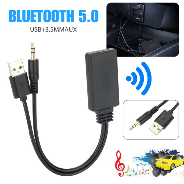 Bluetooth 5.0 Receiver Adapter USB 3.5mm Jack Stereo Audio For Car AUX Speaker $10.97