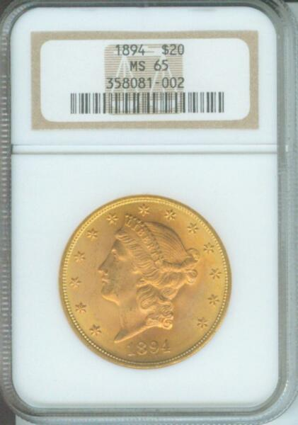 1894 $20 LIBERTY DOUBLE EAGLE NGC MS65 MS-65 RARELY SEEN ANYWHERE OLDER HOLDER !