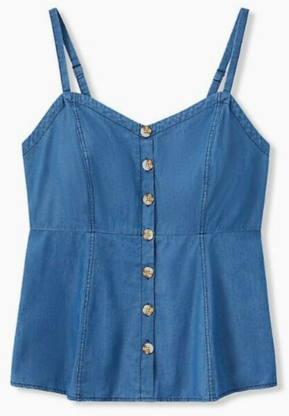 NWT Torrid Blue Chambray Button Fit & Flare Cami Baby Doll Top Size 3 (22)