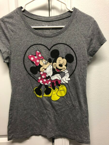 Disney Mickey Mouse And Minnie Heart Gray Women's Junior T-Shirt Large (11-13)