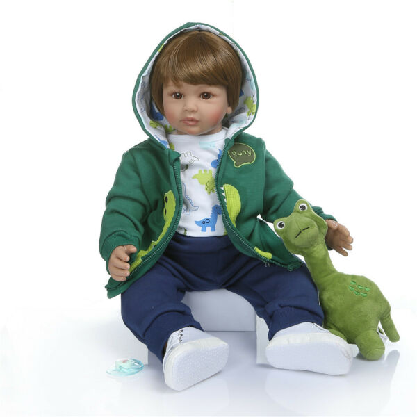 Realistic Toddler Dolls Boy Baby Doll 24inch Silicone Boy Doll with Accessories
