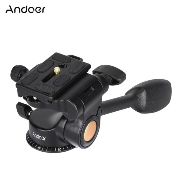 Video Tripod Ball Fluid Head Rocker ArmQuick Release Plate For Camera DSLR Y0H9