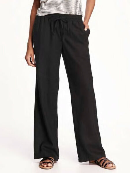 Old Navy Women#x27;s Black Linen Blend Pants Size XL