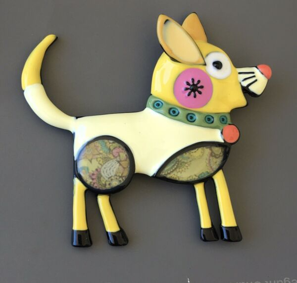 Adorable vintage artistic dog large brooch in yellow enamel on metal $10.80