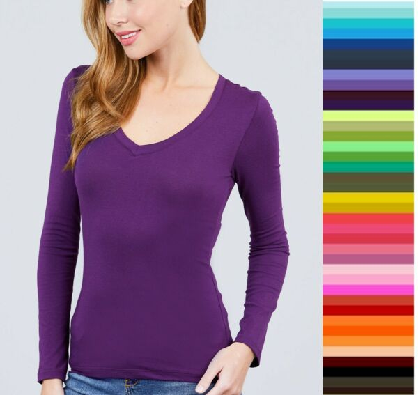 Womens T Shirt V Neck Long Sleeve Active Basic Stretch Light Weight Top T9665 $9.95