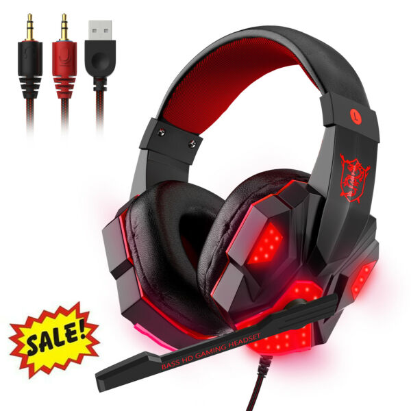 Gaming Wired 3.5mm Headset LED Headphone Bass Stereo amp; Mic For PS4 Xbox One PC