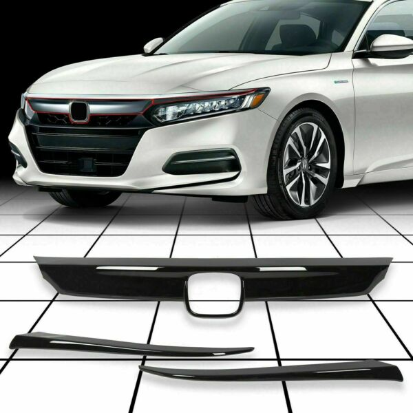FOR 2018 2020 HONDA ACCORD GLOSSY BLACK FRONT GRILL MOLDING TRIM EYELID COVER $44.50