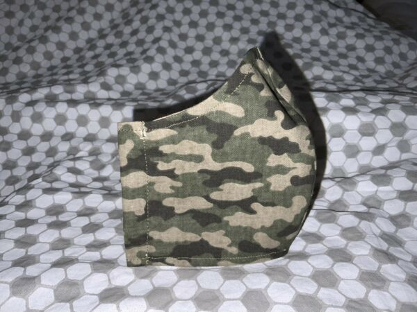 Childs reusable Camo mask With Filter Pocket And Adjustable Ear Straps