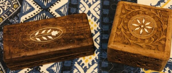 Vintage Hand Carved Wood Boxes X2