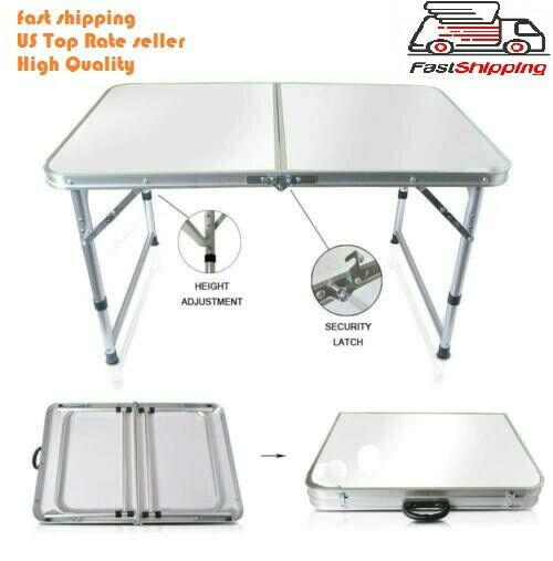 Portable Indoor Outdoor Aluminum Folding Table 4#x27; Picnic Party Camping US seller $75.99