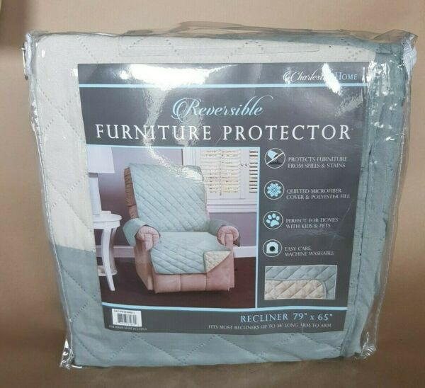 Charleston Home Reversible Furniture Protector for Recliner Blue amp; off White New $24.69