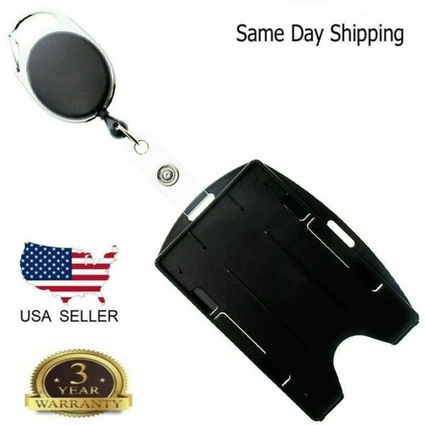 Card ID Holder with Retractable Badge Reel w Carabiner amp; Belt Clip $3.99