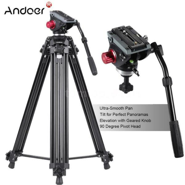 Andoer 72quot; Pro Camera Tripod for DV DSLR Video Stand Fluid Pan Head w Carry Bag