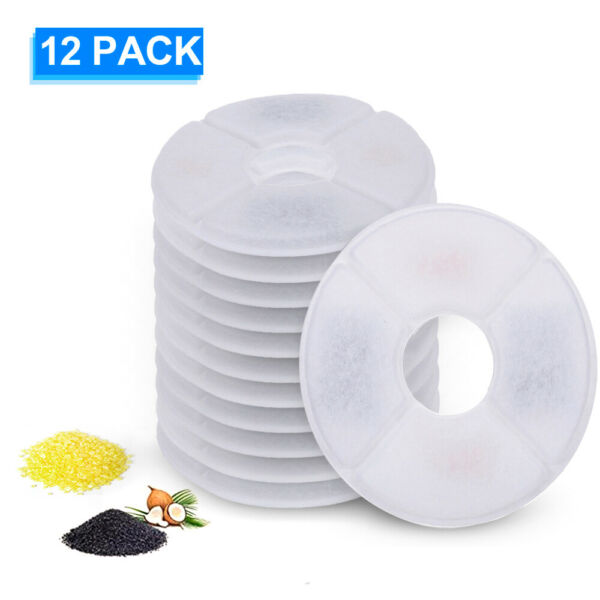 Automatic Dog Water Drinking Flower Fountain Dish Filter Dispenser 12PCS S0O0 $16.29