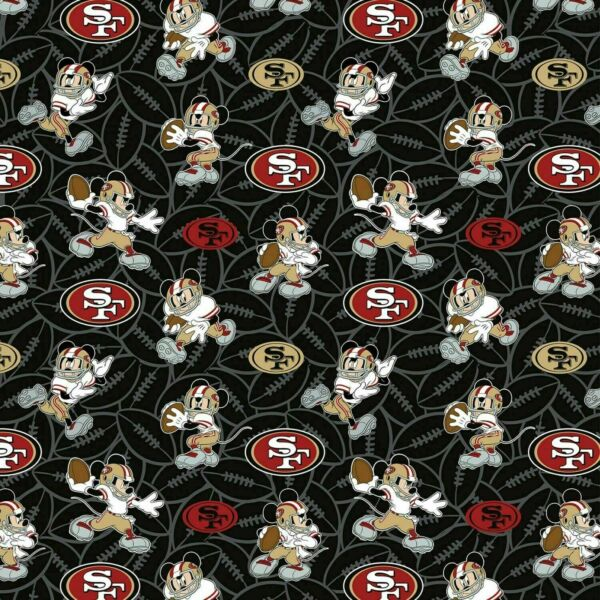 NFL SAN FRANCISCO 49ers LOGO 100% COTTON FABRIC FAST SHIP 1 2 YARD 18 X 58