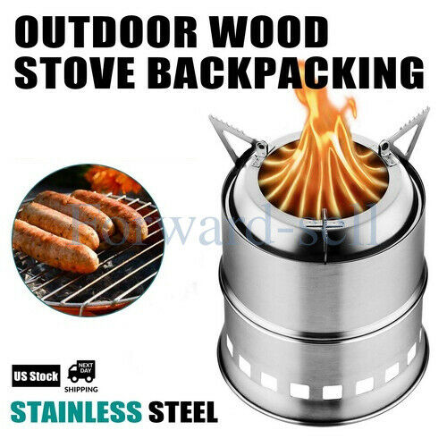 US Outdoor Wood Stove Backpacking Portable Survival Wood Burning Camping Stove $34.18
