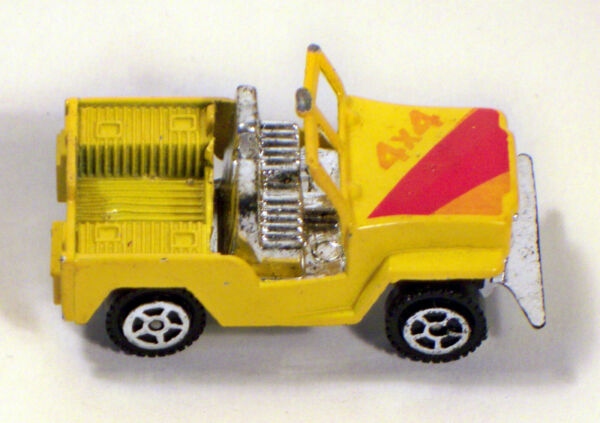 Diecast Toy Jeep CJ 7 Open Roof 4x4 Yellow amp; Red Off Road Vehicle Marked 8634 $7.70