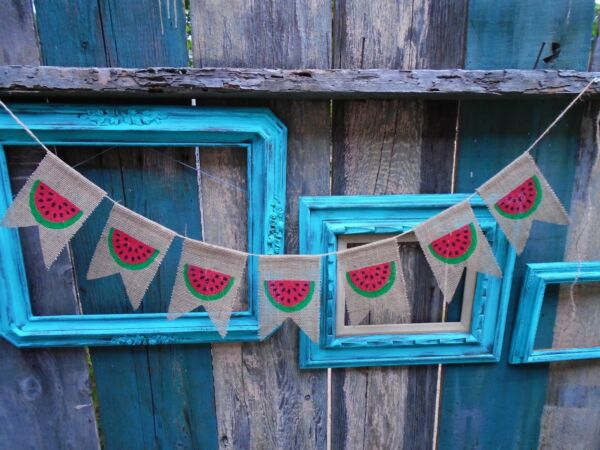 Watermelon Summer Burlap Banner Garland Bunting Handmade in USA