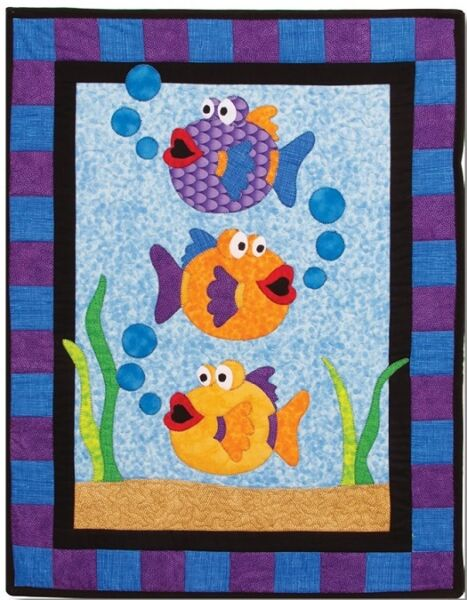New Applique Quilted Wallhanging Pattern ONE FISH TWO FISH 20 x 26 $10.00