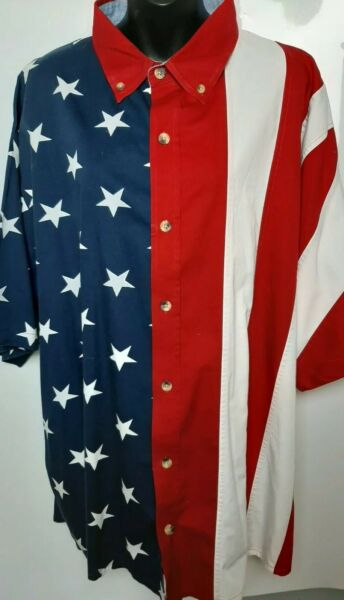 Mens Sport American Flag Short Sleeve Shirt 2XL