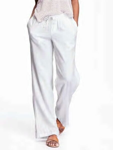 Old Navy Women#x27;s White Wide Leg Linen Pants Size M