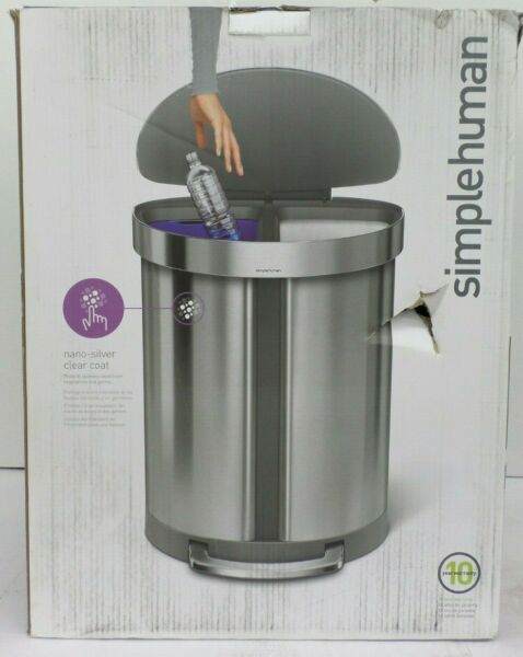 SIMPLEHUMAN STAINLESS STEEL DUAL COMPARTMENT STEP TRASH CAN 55 LITER SSS 104 $137.99