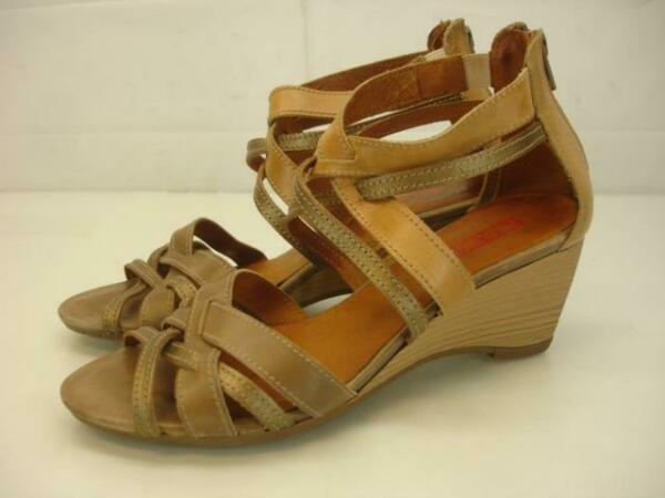 Womens 6.5 7 37 Pikolinos Talavera Taupe Bronze Woven Leather Sandals Wedge Heel