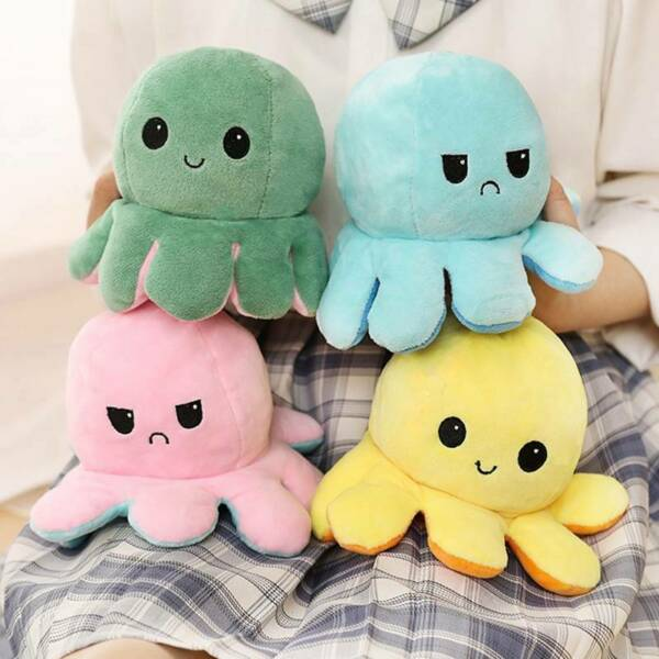 Double Sided Flip Reversible Octopus Plush Toy Squid Stuffed Doll Toys dskf $10.23