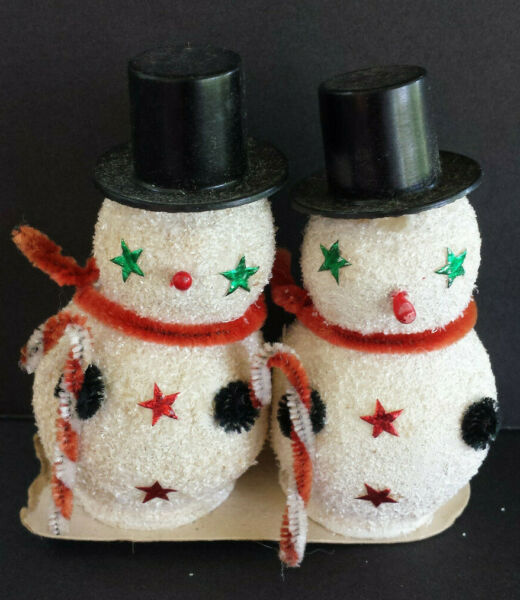 VINTAGE SNOWMEN FIGURINES WITH PIPE CLEANER CANDY CANES CHRISTMAS TREEORNAMENT $7.00