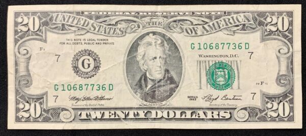 1993 $20 Twenty Dollar Serial G1067736D Old Federal Reserve Note