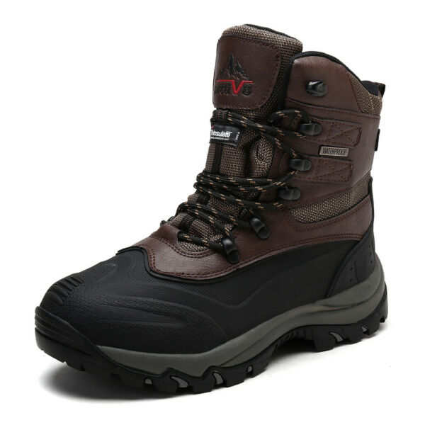 US Men#x27;s Winter Snow Boots Insulated Waterproof Construction Rubber Sole Boots